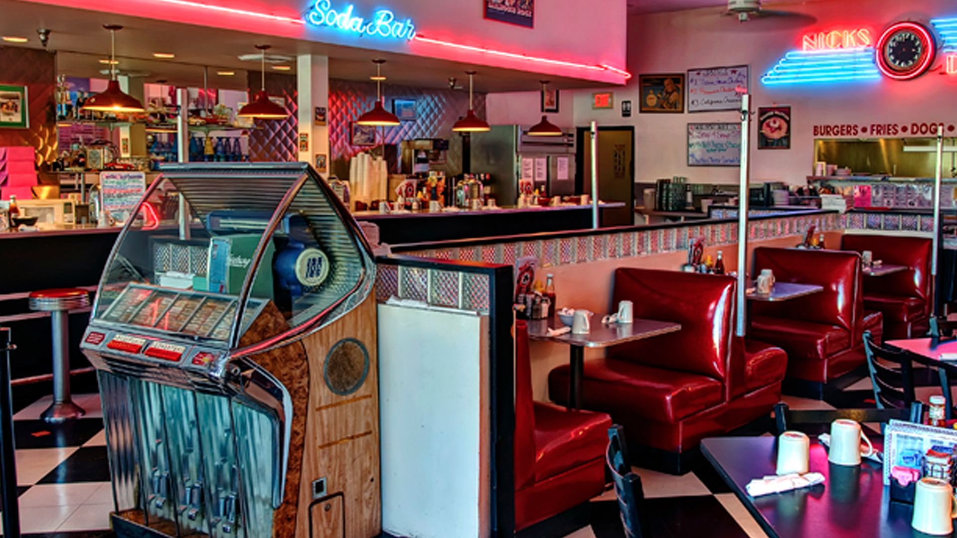 old 50s diner wallpaper. Black Bedroom Furniture Sets. Home Design Ideas